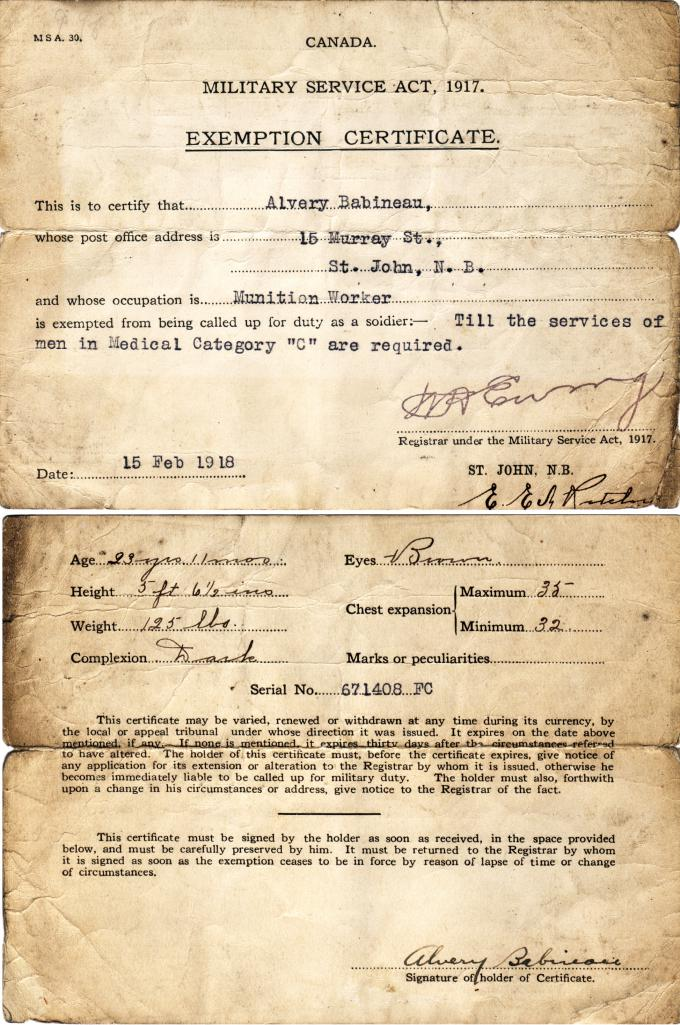 A munitions worker\'s exemption | Wartime Canada