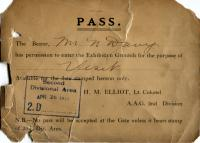 This PASS shows the name and date of when the soldier can enter the exhibition grounds
