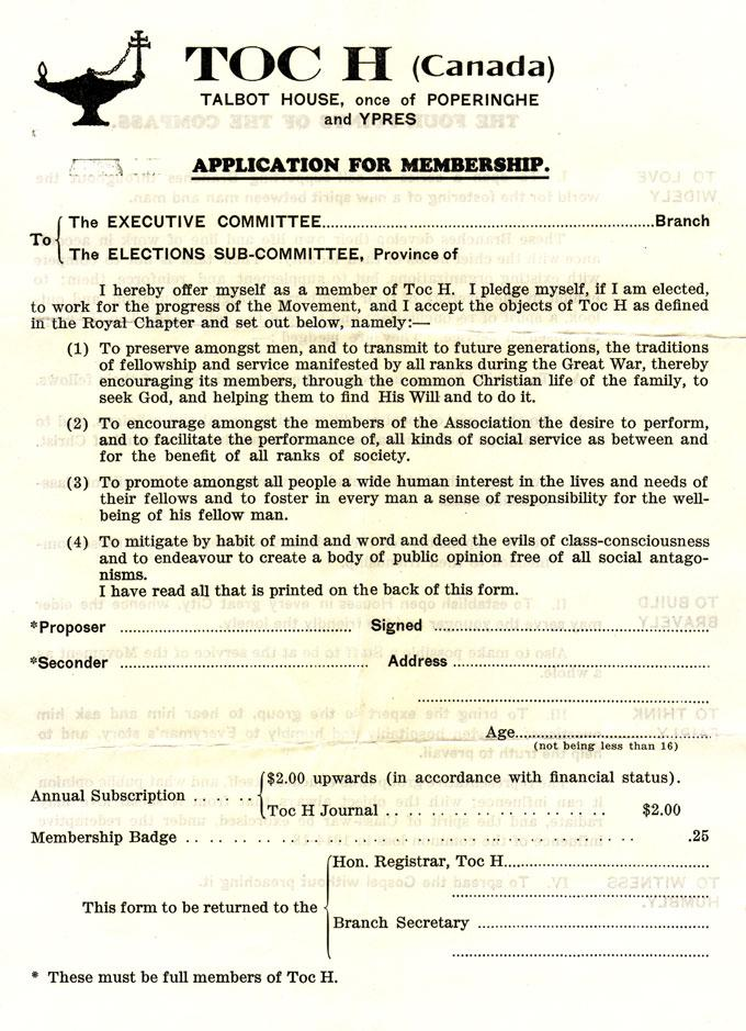 Application for membership in Toc H Canada   Wartime Canada
